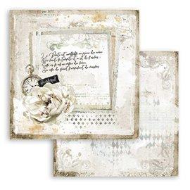 Papier scrapbooking Romantic Journal lettre et horloge Stamperia 30x30 réversible