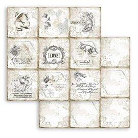Papier scrapbooking Romantic Journal cartes Stamperia 30x30 réversible