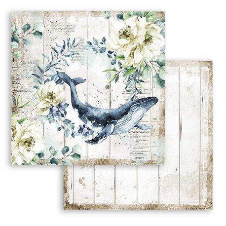 Papier scrapbooking Romantic Sea Dream baleine Stamperia 30x30 réversible