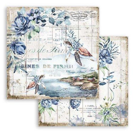 Papier scrapbooking Romantic Sea Dream tortues Stamperia 30x30 réversible
