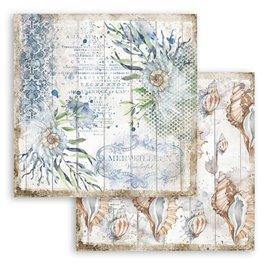 Papier scrapbooking Romantic Sea Dream coquilles Stamperia 30x30 réversible