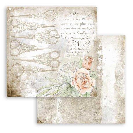 Papier scrapbooking réversible Stamperia doube face 30x30 Romantic Threads ciseaux