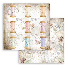 Papier scrapbooking réversible Stamperia Romantic Threads Thread 30x30