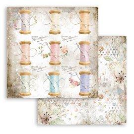 Papier scrapbooking Romantic Threads Stamperia 30x30 réversible