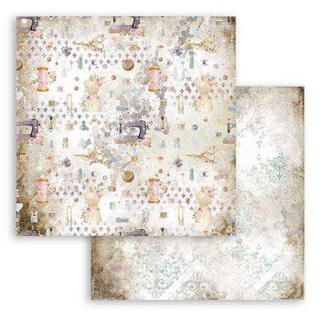 Papier scrapbooking Romantic Threads texture Stamperia 30x30 réversible