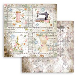 Papier scrapbooking Romantic Threads cartes Stamperia 30x30 réversible