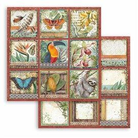 Papier scrapbooking Amazonia étiquettes carrées Stamperia 30x30 réversible