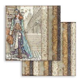 Papier scrapbooking Lady Vagabond Stamperia 30x30 réversible