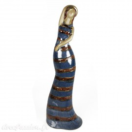 Objet de décoration statuette baigneuse bleue