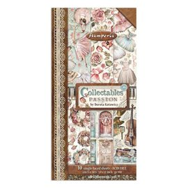 Papier scrapbooking assortiment Stamperia Collectables Passion 10f 15x30 recto verso