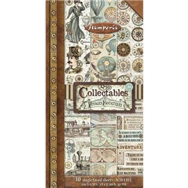 Papier scrapbooking assortiment Stamperia Collectables Voyages Fantastiques 10f 15x30 recto verso