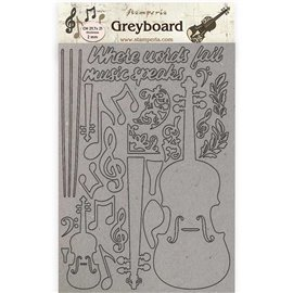 Chipboard en carton Stamperia Passion violon A4