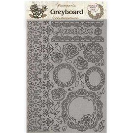 Chipboard en carton Stamperia Passion dentelle et roses A4