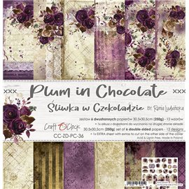 Papier scrapbooking assortiment Craft O Clock 12fe 30x30 Prune En Chocolat