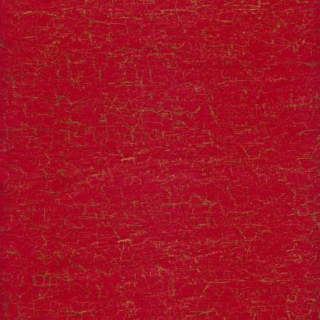Feuilles décopatch rouge craquelé doré