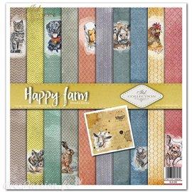 Papier scrapbooking Happy farm assortiment 1 tag + 10 feuilles 30x30