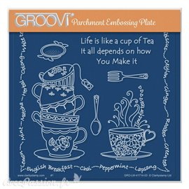 Groovi gabarit parchemin Linda Williams' Life is a Cup of Tea 15x15cm