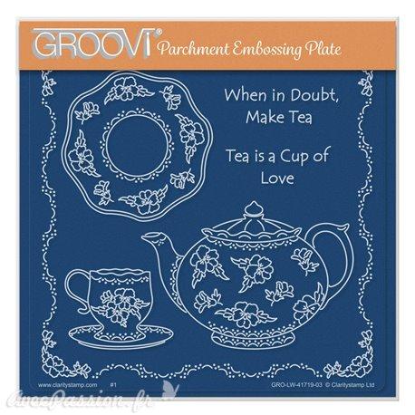 Groovi gabarit parchemin Linda Williams' When in Doubt Make Tea 15x15cm