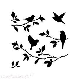 Pochoir plastique Bird On Branches 15x15cm