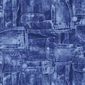 Feuilles décopatch motif poches de jean bleu