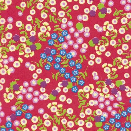 Feuilles décopatch fond rouge semis fleurs vert bleu et blanc