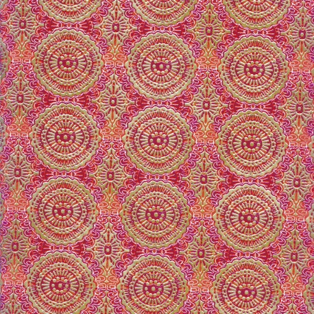 Feuilles décopatch motif oriental rose orange