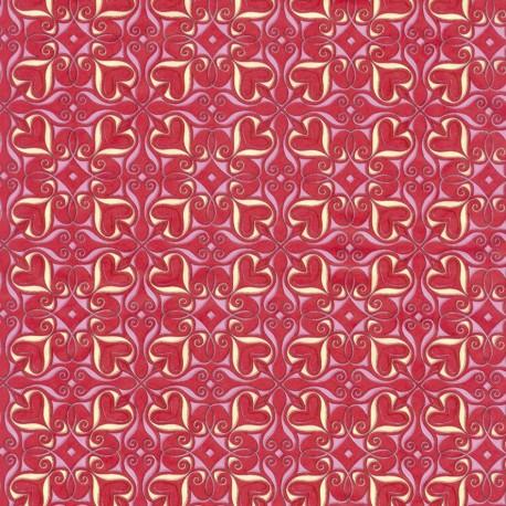 Feuilles décopatch rouge cœur vanille rose