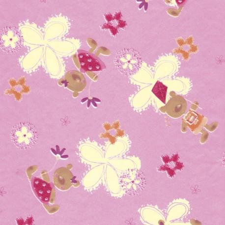 Feuilles décopatch fond rose fleurs jaune fuschia et nounours