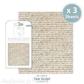 Papier de découpage Craft Consortium Bee Script 3fe de 35x40cm