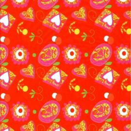 3 Feuilles décopatch rouge pele mele de coeur et de fleurs