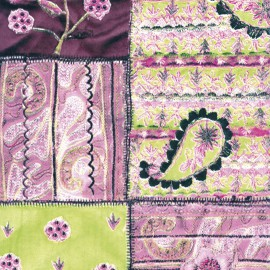 Feuilles décopatch patchwork violet et vert pastel