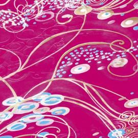 Feuilles décopatch fond fuschia motif arabesques or et bleu