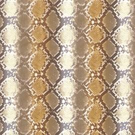 Feuilles décopatch motifs lezard blanc marron et or