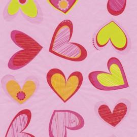 Feuilles décopatch fond rose cœurs rouge rose et jaune