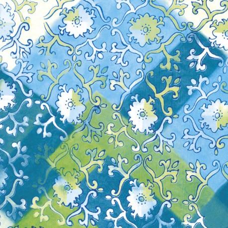3 Feuilles décopatch arabesque ancien blanc sur bleu turquoise vert