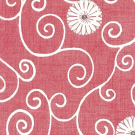 3 Feuilles décopatch rouge calligraphie et fleur blanche
