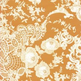 Feuilles décopatch orange dentelle blanche