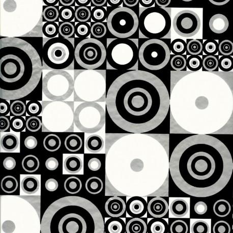 Feuilles décopatch motif rond et carré noir blanc et argent