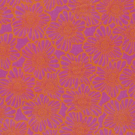 3 Feuilles décopatch fleurs rose bordure orange