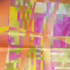 3 Feuilles décopatch carrés pixel fuschia jaune et orange