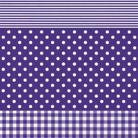 Feuilles décopatch rayé carreau pois violet