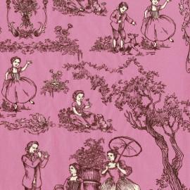 Feuilles décopatch toile de jouy rose