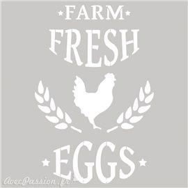 Pochoir décoratif Farm Fresh Eggs 20x20cm