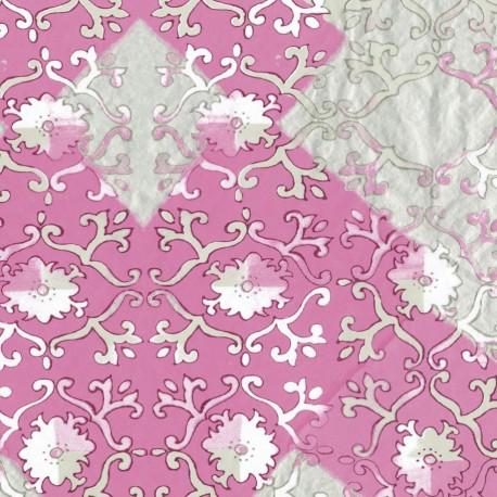 Feuilles décopatch motif ancien fond rose blanc argent