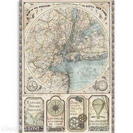 Papier de riz Sir Vagabond map of New York Stamperia A4