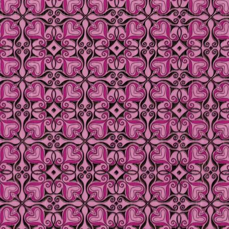 Feuilles décopatch rose cœur fushia et noir
