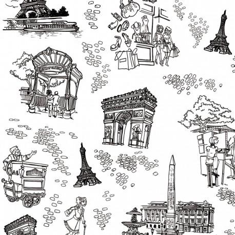 Feuilles décopatch monuments paris blanc et noir