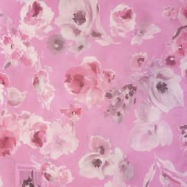 Feuilles décopatch fond rose fleurs rose et blanc
