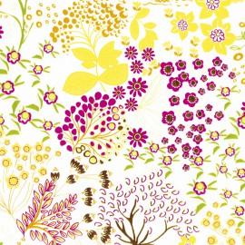 Feuilles décopatch fond blanc motif nature coloré