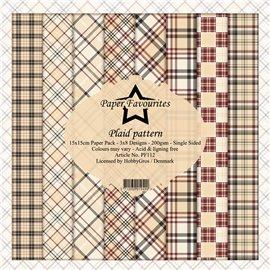 Papier scrapbooking Dixi Craft Paper Favourites Plaid Pattern 15x15 24fe assortiment